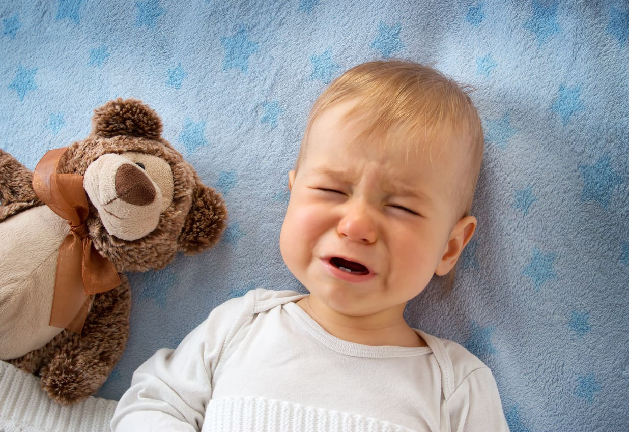 One year old baby crying